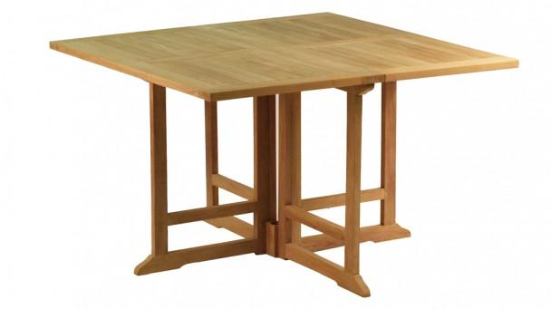 Table carrée pliante en teck massif PORQUEROLLES pour 4/6 personnes