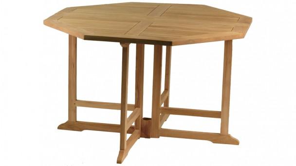 Table octogonale pliante en teck massif NIOLON pour 4/6 personnes