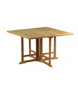 Table carrée pliante en teck massif PORQUEROLLES, 120cm