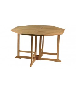 Table octogonale pliante en teck massif NIOLON, 120 cm